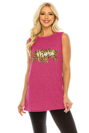 Haute Edition WOMEN'S TOP HOT PINK / S Haute Edition Women's Mama Bear Loose Fit Tank top. Plus size available