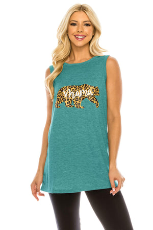 Haute Edition WOMEN'S TOP TEAL / S Haute Edition Women's Mama Bear Loose Fit Tank top. Plus size available