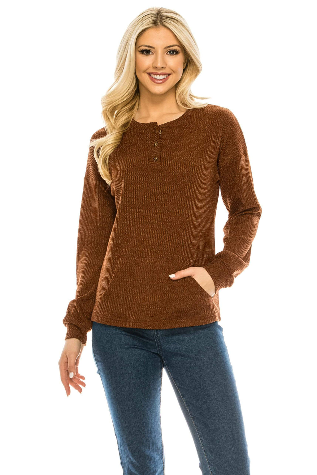 Haute Edition WOMEN'S TOP BRICK / S Haute Edition Women's Rib Kit Henley Top with Front Pocket