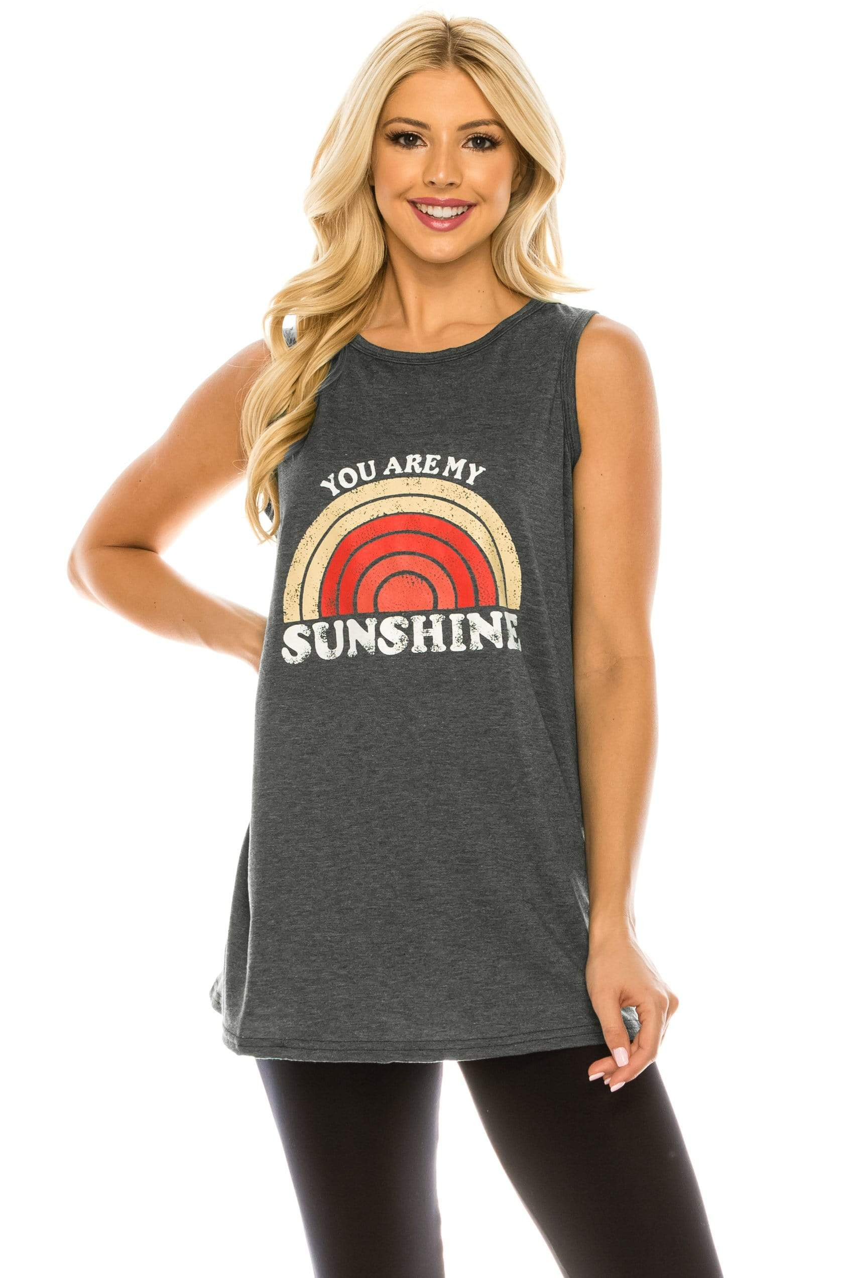 Haute Edition WOMEN'S TOP DARK CHARCOAL / S Haute Edition Women's Sunshine Loose Fit Tank top. Plus size available