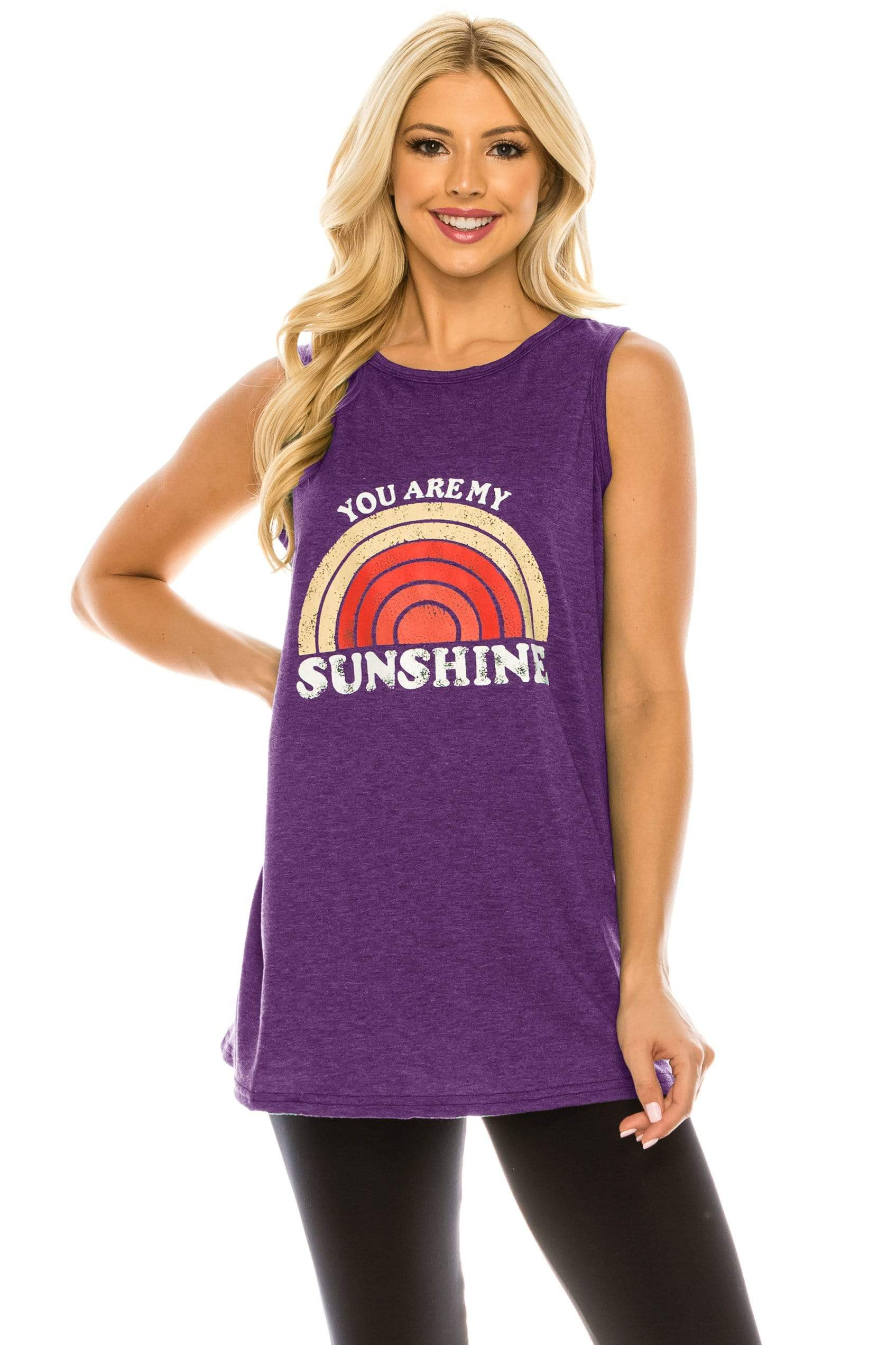 Haute Edition WOMEN'S TOP PURPLE / S Haute Edition Women's Sunshine Loose Fit Tank top. Plus size available