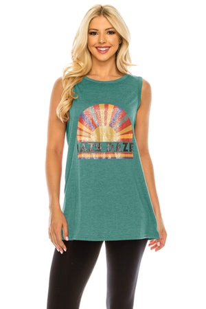 Haute Edition WOMEN'S TOP TEAL / S Haute Edition Women's Sunshine Loose Fit Tank top. Plus size available