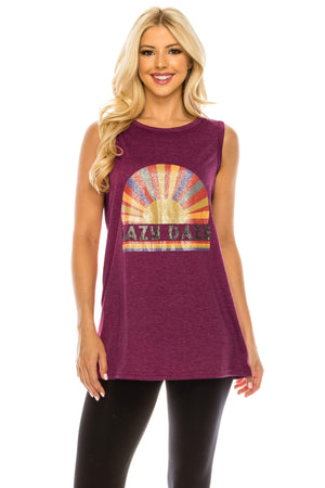 Haute Edition WOMEN'S TOP WINE / S Haute Edition Women's Sunshine Loose Fit Tank top. Plus size available