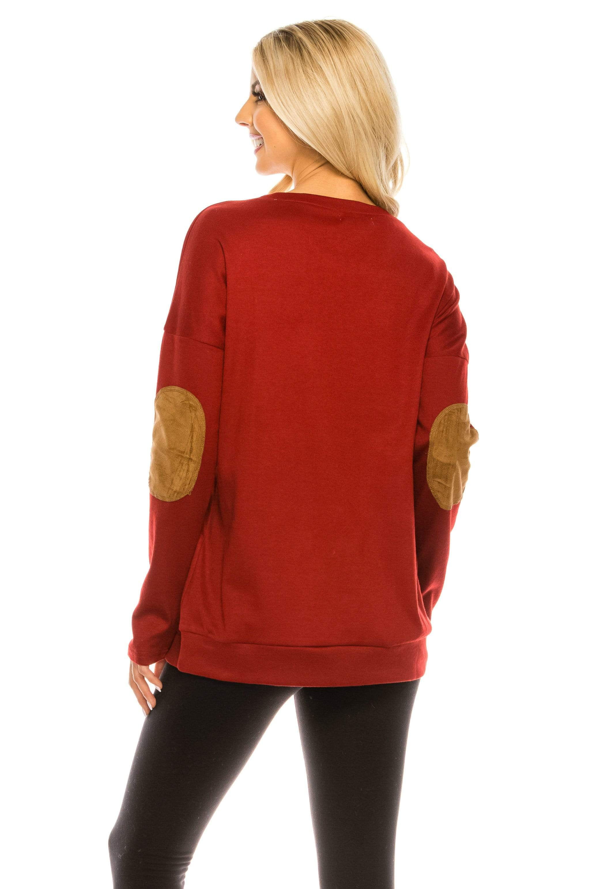Haute Edition WOMEN'S TOP Haute Edition Women's Thanksgiving Tunic Elbow Patch Graphic Tees