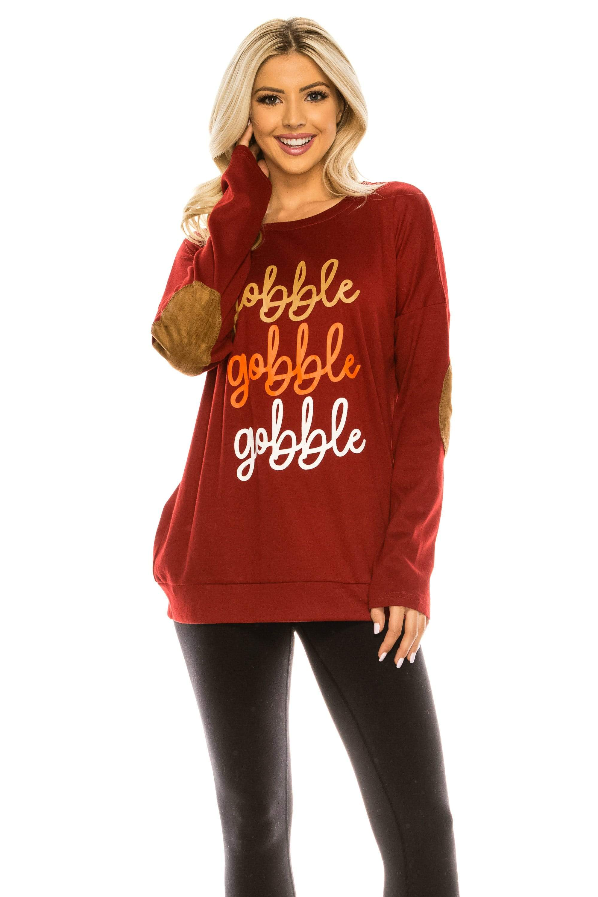 Haute Edition WOMEN'S TOP GOBBLE BURGUNDY / S Haute Edition Women's Thanksgiving Tunic Elbow Patch Graphic Tees