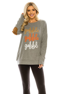 Haute Edition WOMEN'S TOP GOBBLE GREY / S Haute Edition Women's Thanksgiving Tunic Elbow Patch Graphic Tees