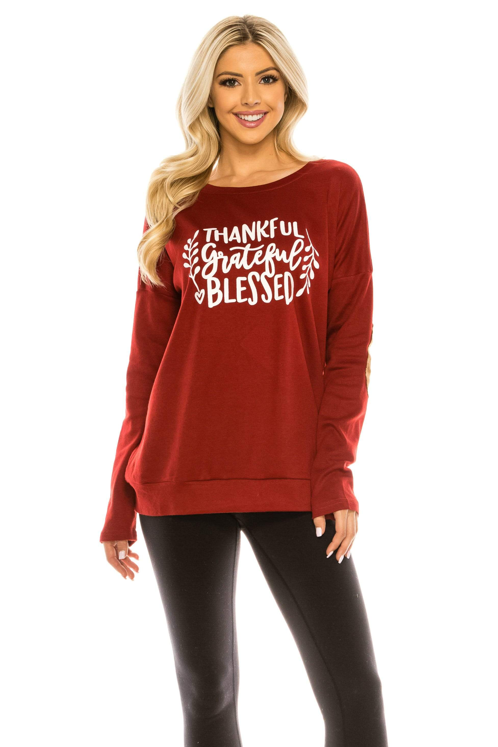 Haute Edition WOMEN'S TOP TGB BURGUNDY / S Haute Edition Women's Thanksgiving Tunic Elbow Patch Graphic Tees