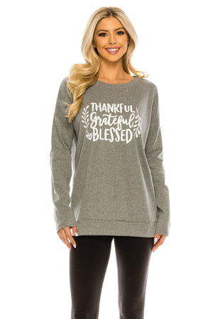 Haute Edition WOMEN'S TOP TGB GREY / S Haute Edition Women's Thanksgiving Tunic Elbow Patch Graphic Tees
