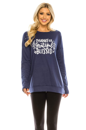 Haute Edition WOMEN'S TOP TGB NAVY / S Haute Edition Women's Thanksgiving Tunic Elbow Patch Graphic Tees