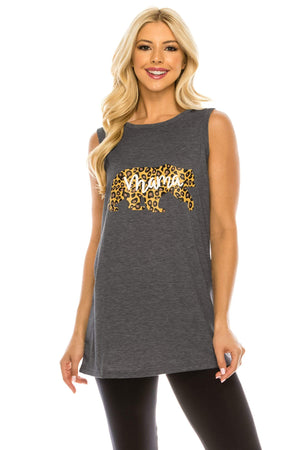 Haute Edition WOMEN'S TOP DARK CHARCOAL / S Haute Edition Women's Mama Bear Loose Fit Tank top. Plus size available