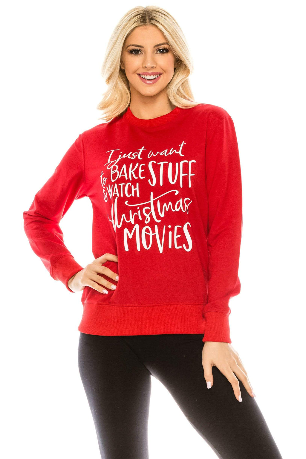 Haute Edition WOMEN'S TOP BAKER / S Holiday Christmas Baking Themed Sweatshirt with Bonus Oven Mitt and Potholder Gift Set