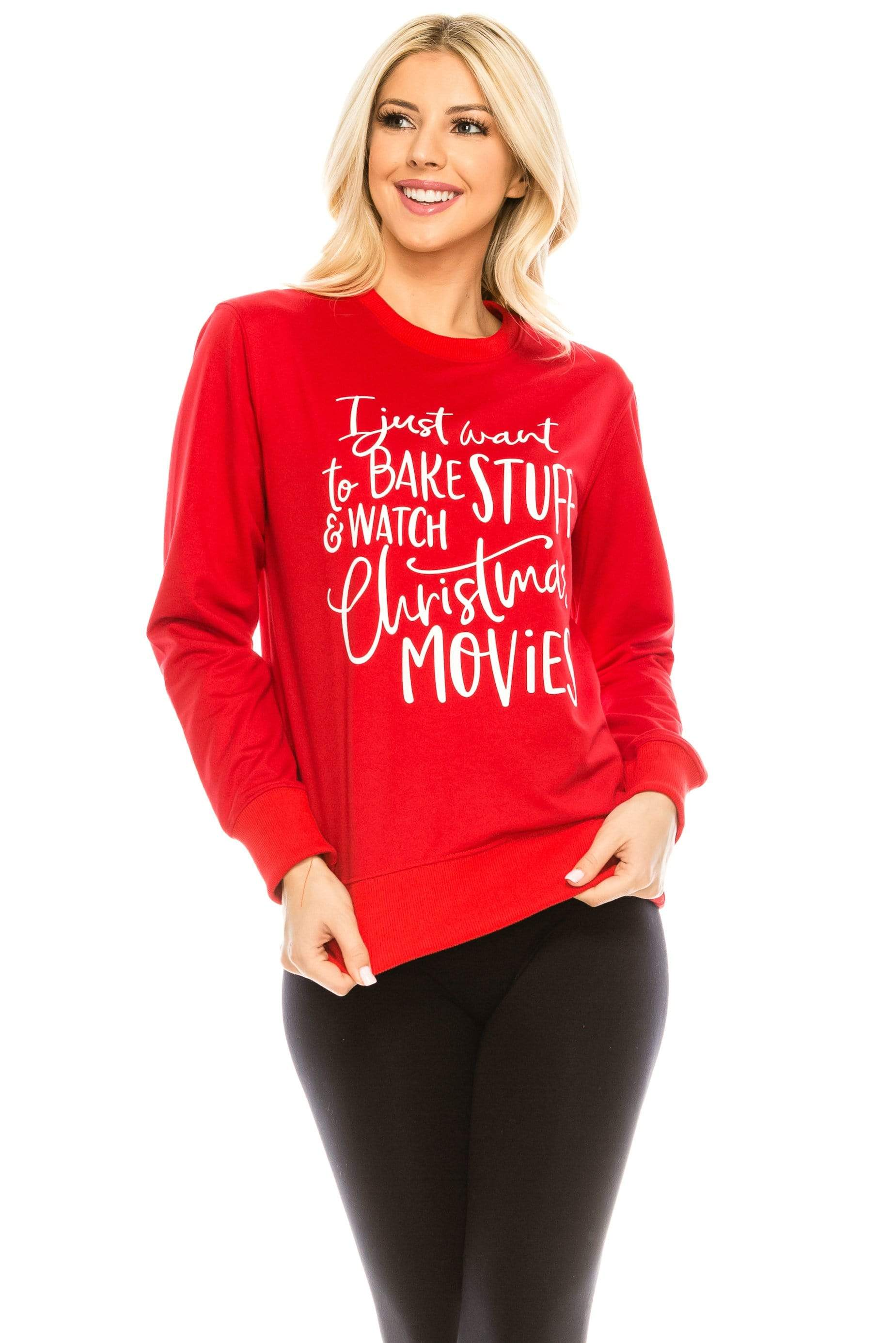 Haute Edition WOMEN'S TOP Holiday Christmas Baking Themed Sweatshirt with Bonus Oven Mitt and Potholder Gift Set