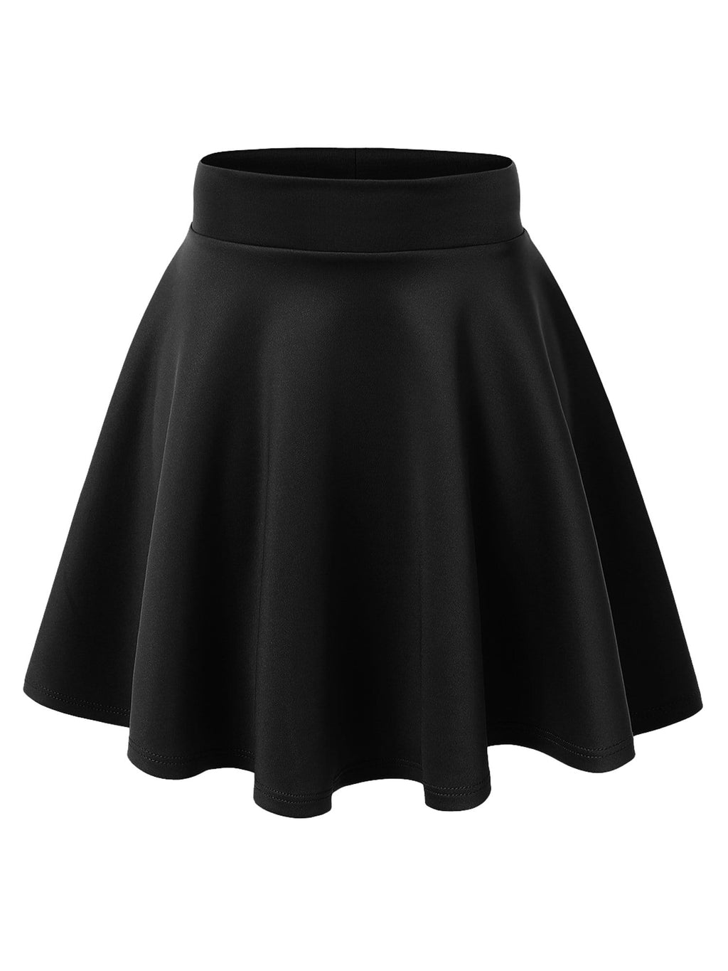 90% Rayon 10% Spandex WOMENS BOTTOM Women's Basic Versatile Stretchy Flared Casual Mini Skater Skirt
