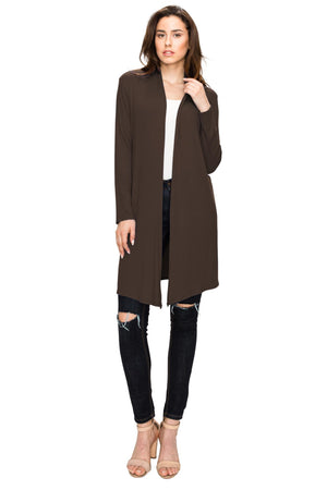 Women's Long Sleeve Open Front Long Cardigan - DAILYHAUTE