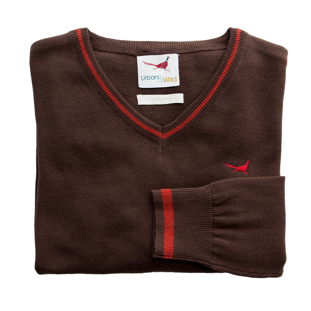 'Amy' V Neck Jumper - Brown