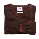 U&W | Ladies Country Jumper - Brown V Neck Jumper