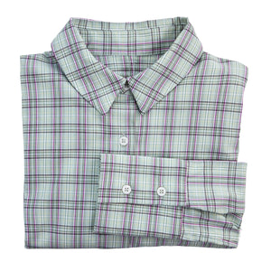 Green, Cream and Pink Checked Shirt with stretch