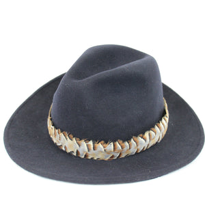 U&W | Ladies Country Accessories - Navy Fedora with Partridge Feather Hat Band