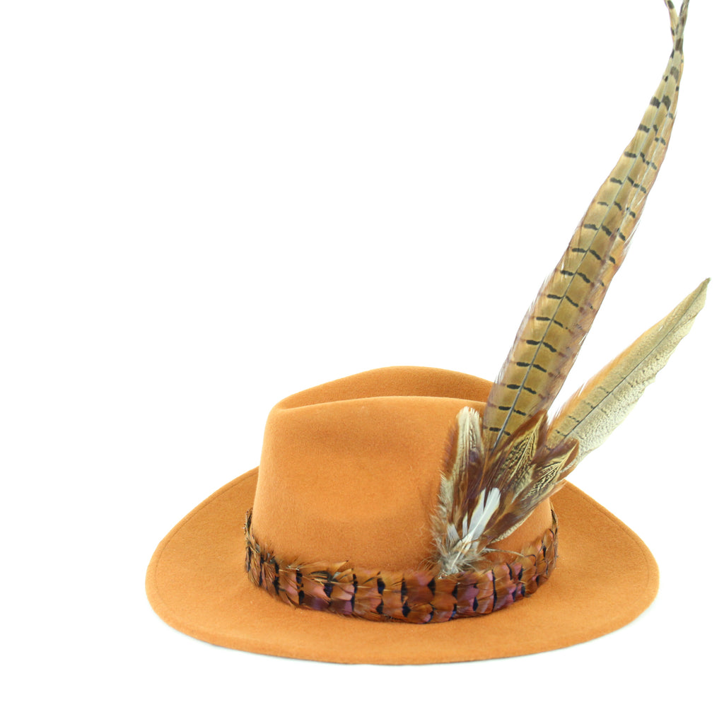 U&W | Ladies Country Accessories - Rust Fedora with Pheasant Feather Accessories