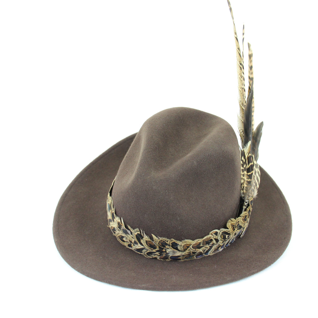 U&W | Ladies Country Accessories - Brown Fedora with Pheasant Feather Accessories