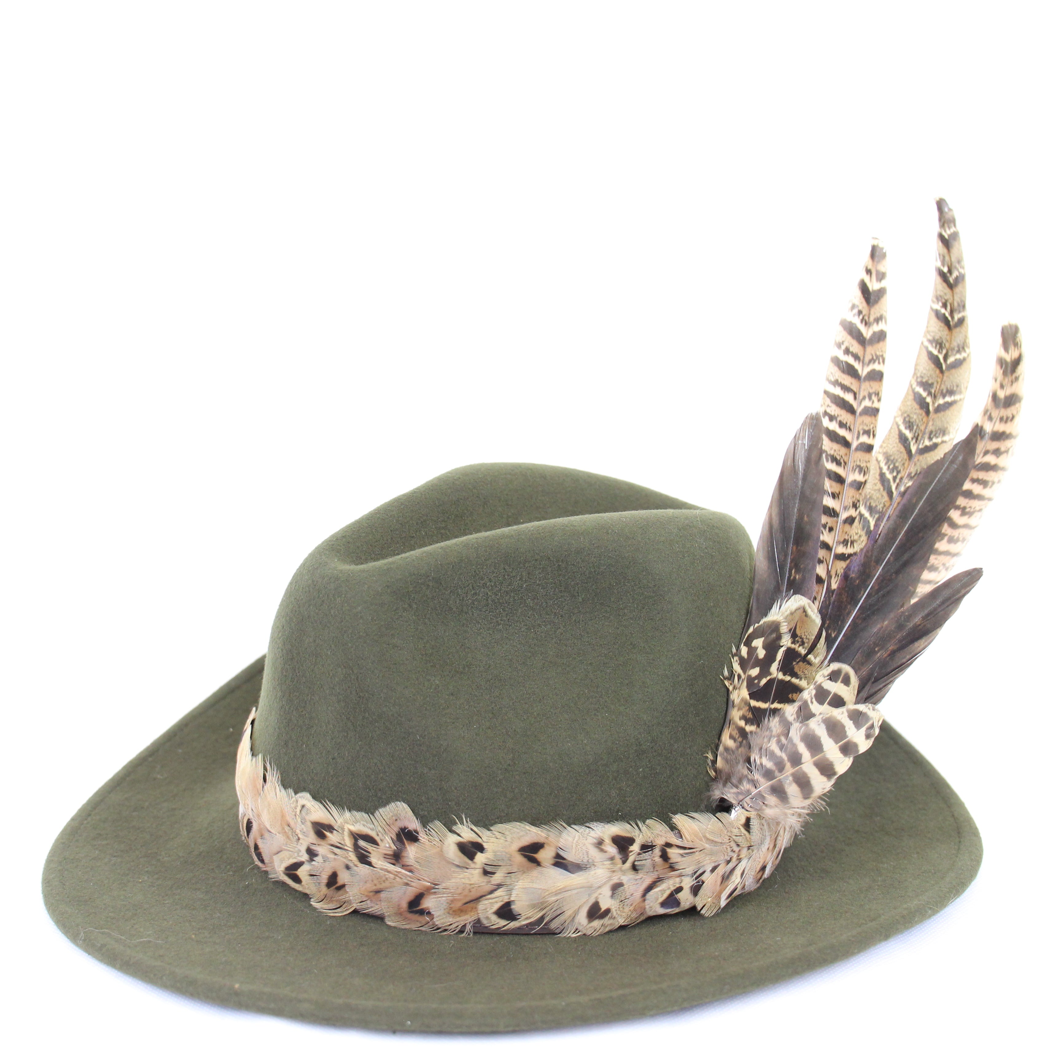 U&W | Ladies Country Accessories - Green Fedora with Pheasant Feathers