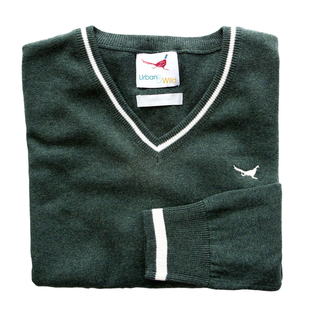 U&W | Ladies Country Jumper - Green V Neck Jumper