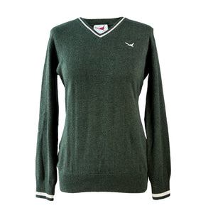'Amy' V Neck Jumper - Green
