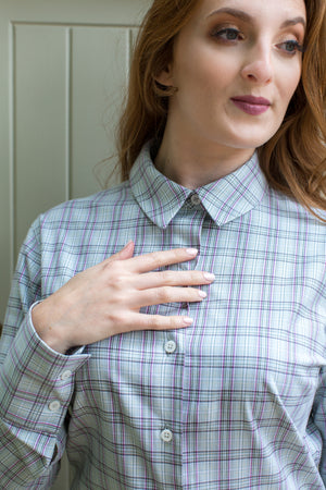 'Alexandra' Shirt - Green/Cream/Pink Check