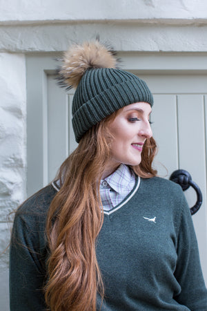 U&W | Ladies Country Accessories - Green Bobble Hat