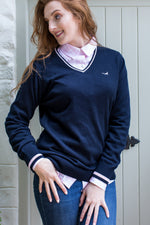 U&W | Ladies Country Shirt - Soft Pink paired with Navy Jumper
