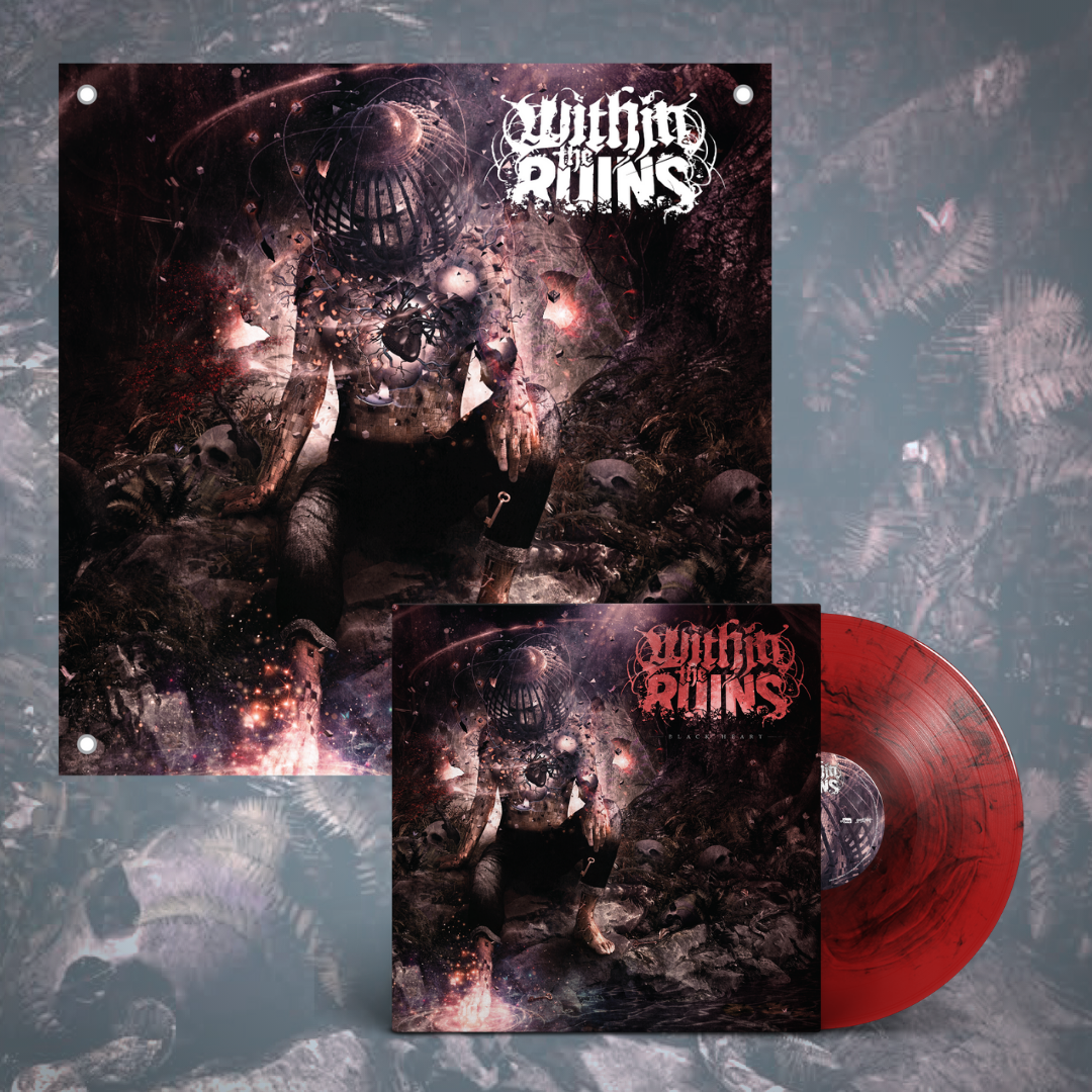 Within The Ruins – Black Heart LP + Flag Bundle