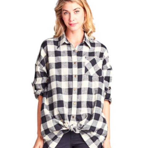 Loose Fit Plaid Shirt with Side Pocket