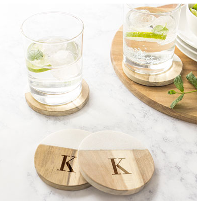 Personalized Marble & Acacia Wood Coasters, Set of 4