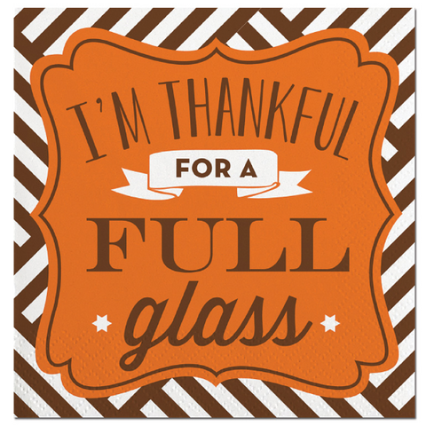 Thankful Full Glass Beverage Napkins
