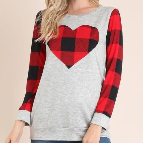Valentine Plaid Top