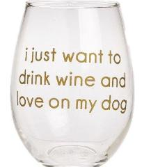 Love On My Dog Stemless Wine Glass