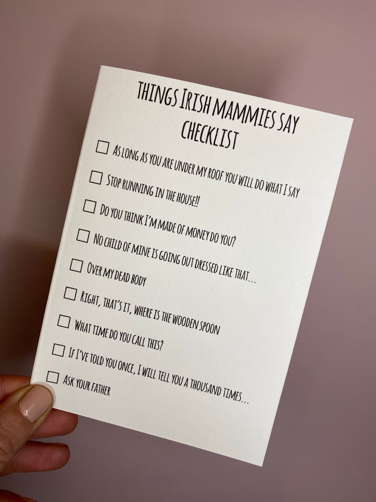 Things Irish mammies say checklist