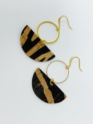 cork earrings zebra print