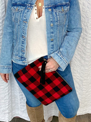 red buffalo plaid clutch