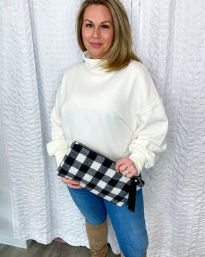 black and white buffalo plaid clutch
