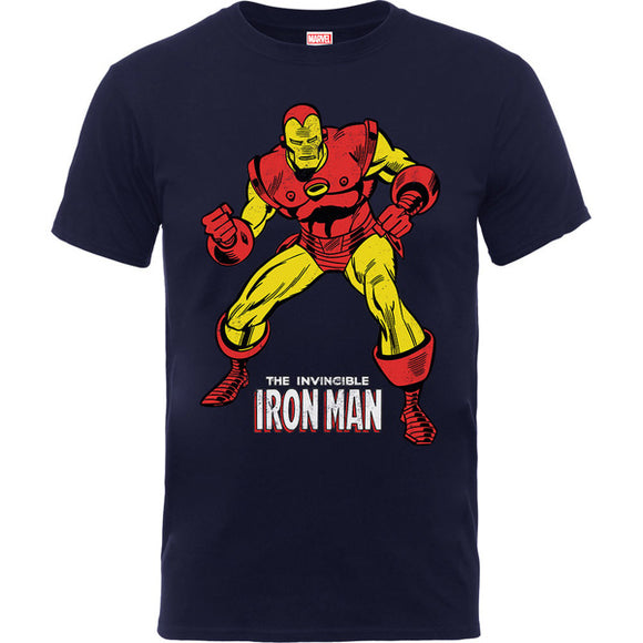 Iron Man Pose Boys Navy T-Shirt (9 -11 Years)
