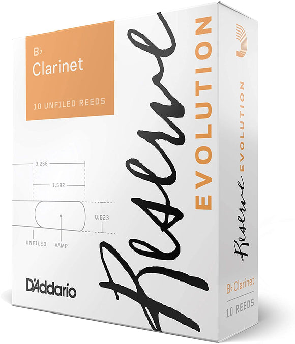 D'addario Reserve Evolution Series Bb Clarinet Reeds, 10pcs box (assorted strength)