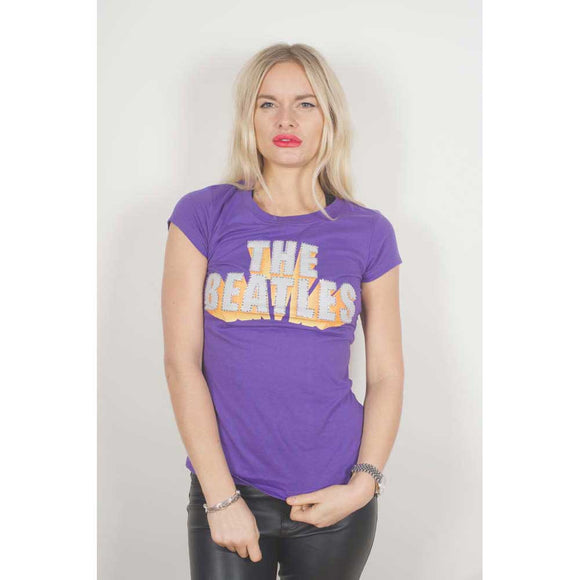 The Beatles Ladies Fashion Tee: 3D Logo (Diamante) S (Purple)