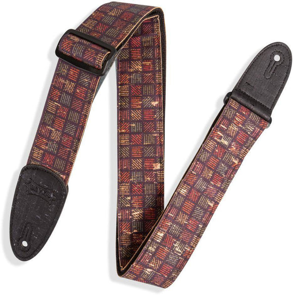Levy's MX8-004 Specialty Series Guitar Strap, Orleans Cork Black, Red, Navy, Gold