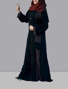 Women's Islamic  Abaya / Burqa Dress, Black Colour Simple Latest Design Stylish Ladies Pardha Dress - Model R1A-116-BK