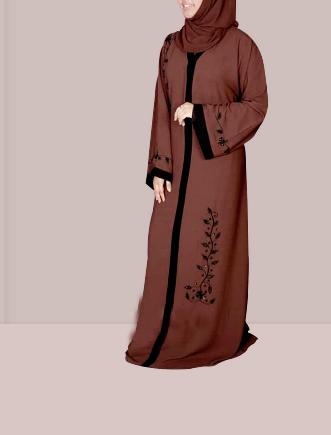 Women's Islamic  Abaya / Burqa Dress, Coffee Colour Simple Latest Design Stylish Ladies Pardha Dress - Model R1A-117-CF