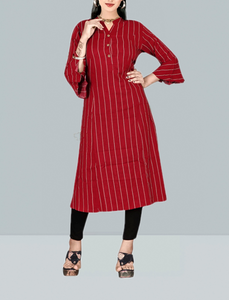 Islamic Modest Organic Cotton Long Sleeve Top, Stylish Red Colour Ladies Long Kurti For Leggings & Other Outfits - R1T-103-RED