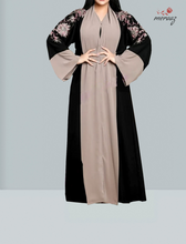 Load image into Gallery viewer, Women's Islamic  Abaya / Burqa Dress, Black & Cream Colour Simple Latest Design Stylish Ladies Pardha Dress - Model R1A-112-MC