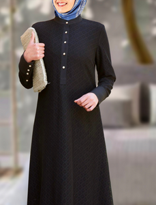 Meraaz Modern Women's Islamic  Abaya / Burqa Dress, Black Colour Simple Latest Design Stylish Ladies Pardha Dress - Model MA-101-BK