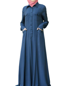 Meraaz Modern Women's Islamic  Abaya / Burqa Dress, Blue Colour Simple Latest Design Stylish Ladies Pardha Dress - Model MA-105-BL